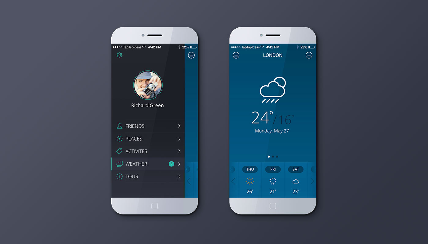iPhone Weather App Mockup (Blue)