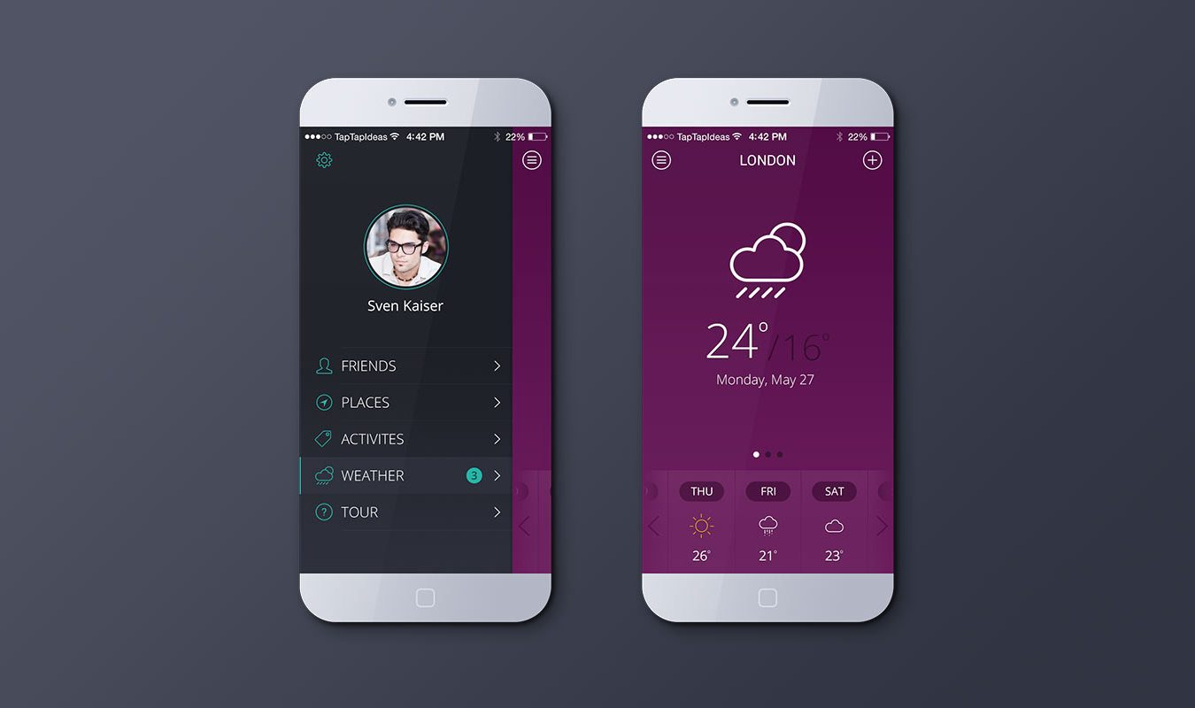 iPhone Weather App Mockup (Pink)