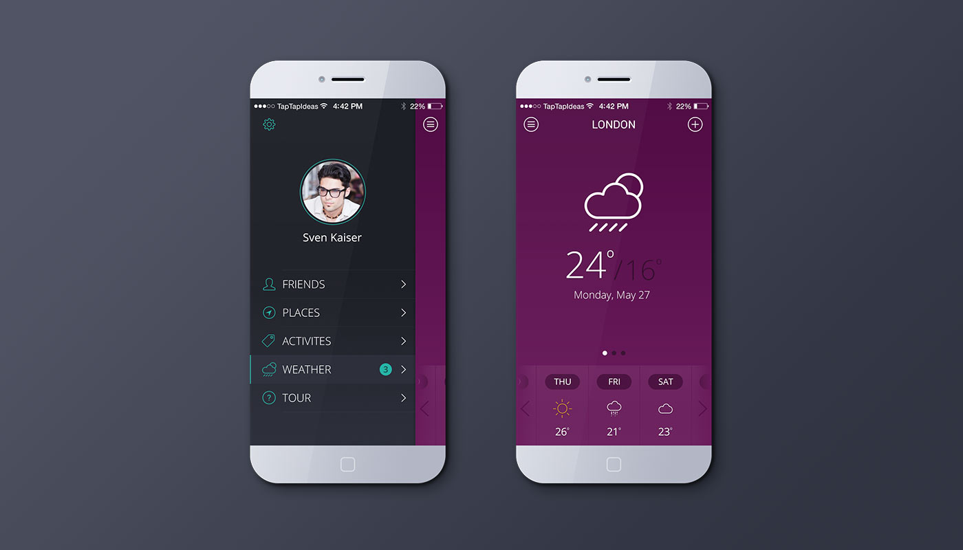 iPhone Weather App Mockup (Pink)