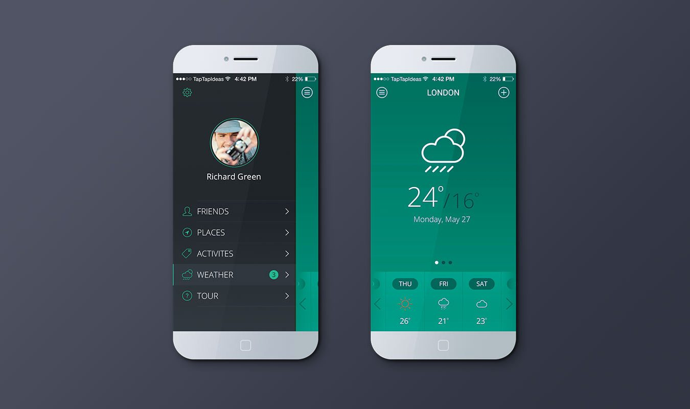 iPhone Weather App Mockup (Green)