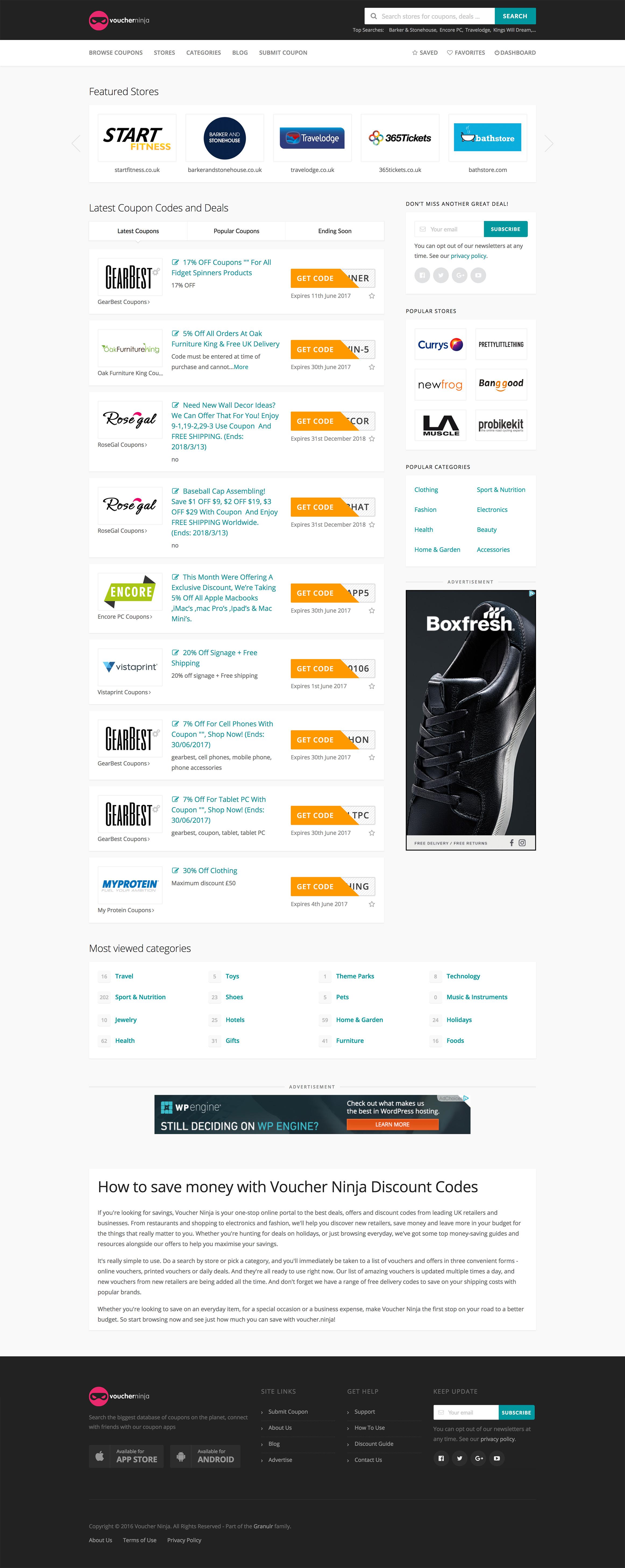 Voucher Ninja Discount Code Website Project